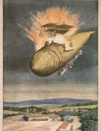 Airship and Airplane Collision 1914 (Petit Journal)