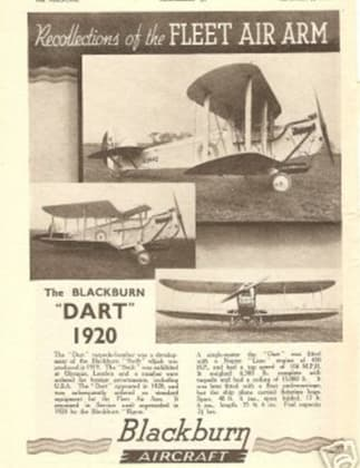 Blackburn Company Advertisement Announcing the Blackburn Dart