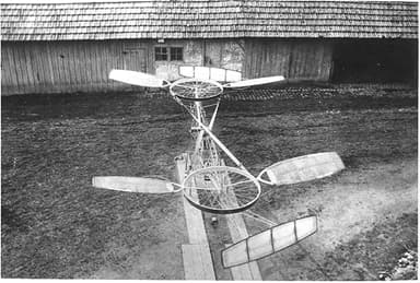 'Bicycle Wheels' Feature on Peter Cornu's Helicopter (1907)