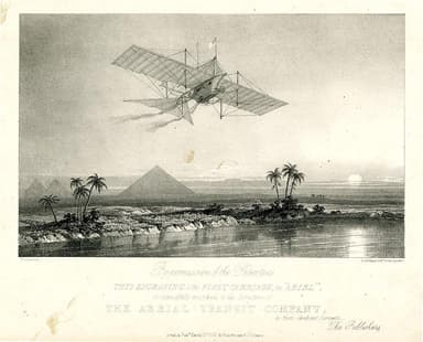 1843 Artist's Impression of John Stringfellow's Plane 'Ariel' Flying over The Nile