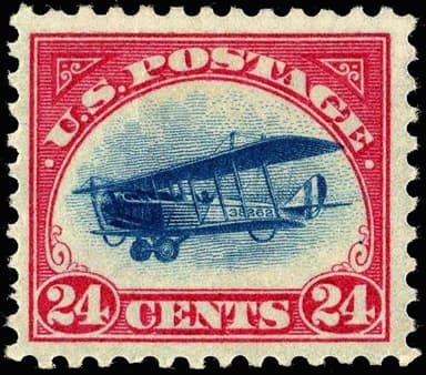 24-cent AirMail United States Postage Stamp, Depicting the Curtiss Jenny