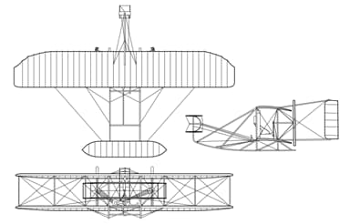 3-View Drawing of the Wright Brothers' 1905 Wright Flyer III Biplane
