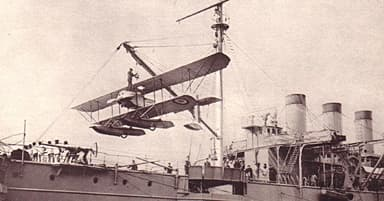 A Caudron Seaplane, Being Hoisted on Board La Foudre in April 1914