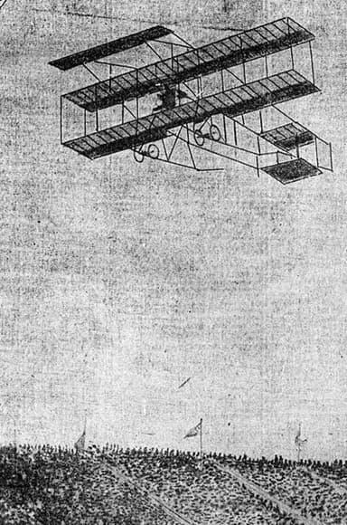 A Farman III Biplane at a Los Angeles Air Show in 1910