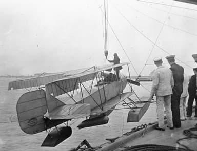 A Short Folder Seaplane Being Hoisted Aboard HMS Hermes in 1913