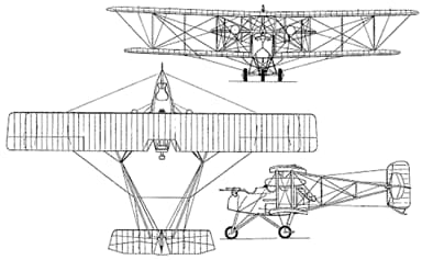 A Three View Drawing of a BLC Escort Fighter