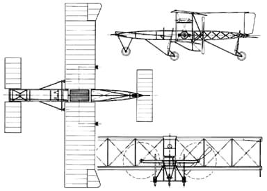 A Three-View Drawing of de Havilland Biplane No 1