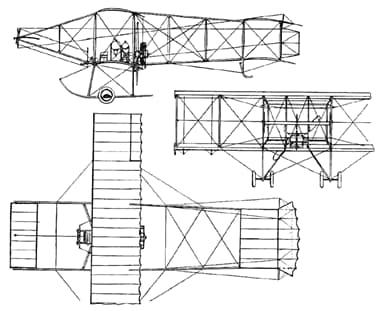 A Three-View Drawing of the Bristol Boxkite