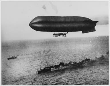 A U.S. airship Escorts a Convoy into Brest Harbor, 1918