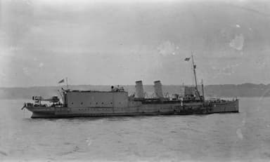 Aircraft Carrier Engadine with a Short Brothers Seaplane on Her Stern