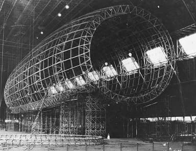Akron under construction in the Goodyear Airdock at Akron, Ohio (1930)