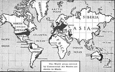 Areas of the World Covered by Commercial Aviation in 1925