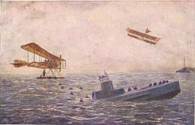 Artist's Impression: Lohner Flying-boats Bomb and Sink French Submarine
