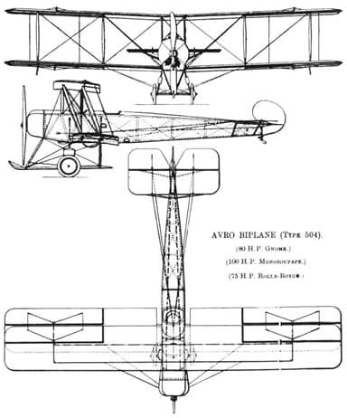 Avro 504K Three-View Drawing