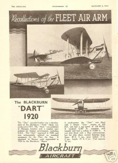 Blackburn Company Advertisement Announcing the Blackburn Dart