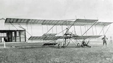 Bristol Boxkite in front of the British & Colonial School Hangars at Larkhill