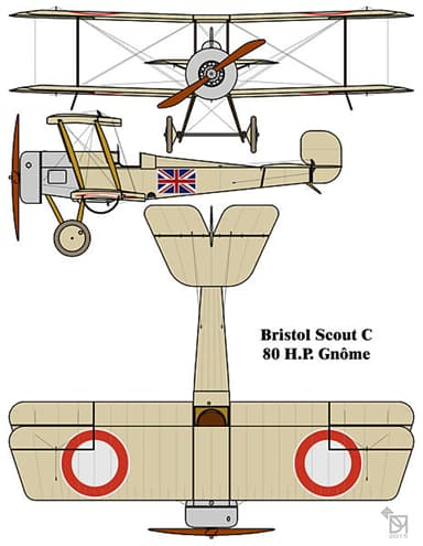 Bristol Scout C Drawing with RNAS Ring Style Insignia