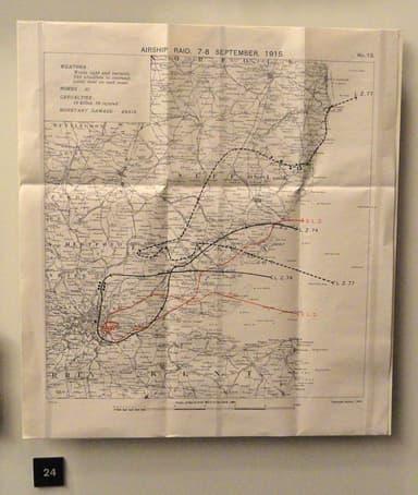 British map of German Airship Bombing Run on September 7 / 8, 1915