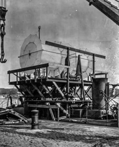 Butler Ames Aerocycle on a Specially Built Platform Atop USS Bagley (1910)