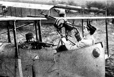 Captain and Observer Practicing for Action in Farman MF.11bis (1914)