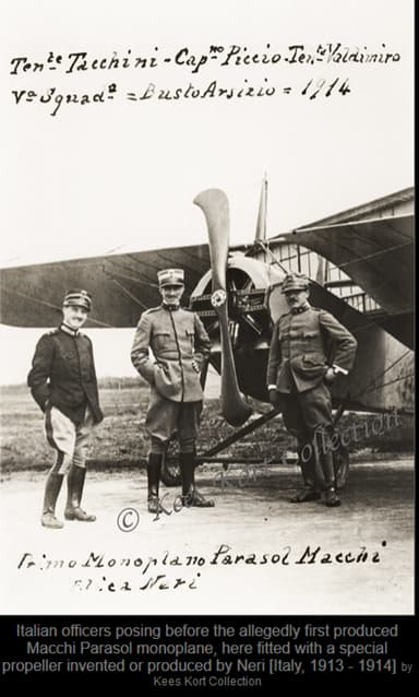 Claimed First Nieuport-Macchi Parasol with 'Neri's Special Propeller'