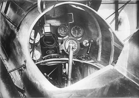 Close-Up of Cockpit Instrumentation on an S.E.5