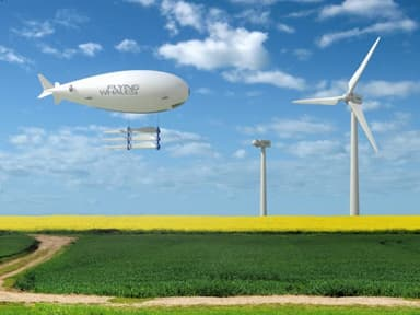 Concept: Flying Whales' Aircraft Carrying Several Wind Turbine Blades