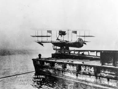 Curtiss AB-2 Flying Boat being Catapulted from Coal Barge No. 214 (1915)