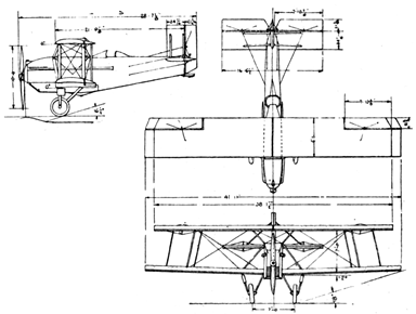 Curtiss Carrier Pigeon 3-View Drawing from L'Aéronautique (March 1927)