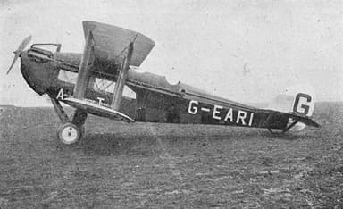 De Havilland DH.18 Prototype G-EARI Aircraft