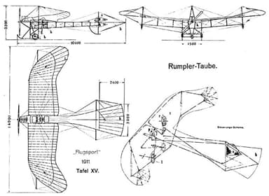 Design drawing of Taube from 1911