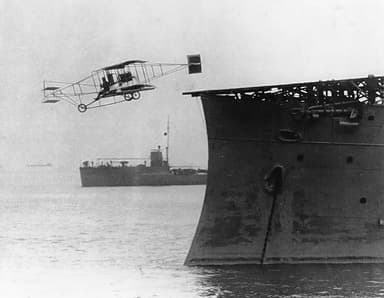 Ely takes off from the USS Birmingham on November 14, 1910