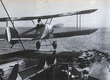 F.J. Rutland Takes Off from the Forward Gun Turret of HMS Yarmouth