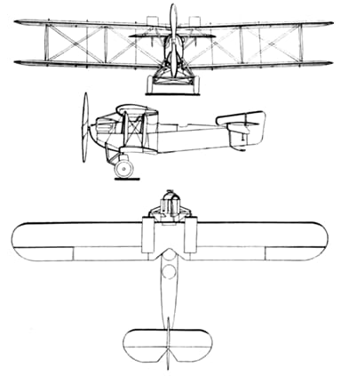 Fairey Fawn 3-view drawing from Les Ailes March 25, 1926