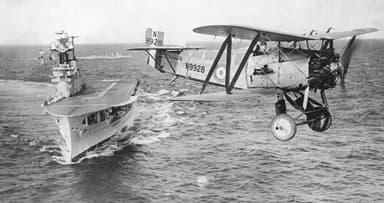 Fairey Flycatcher over HMS Eagle (1930)