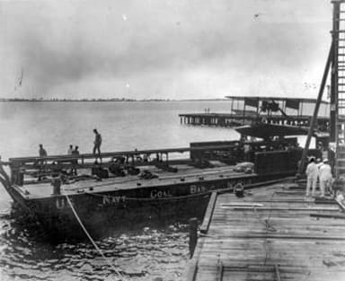 Flying Boat Curtiss AB-2 on Coal Barge No. 214 (1915)