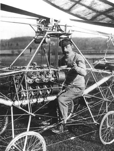 French engineer Paul Cornu Seated in his First Helicopter