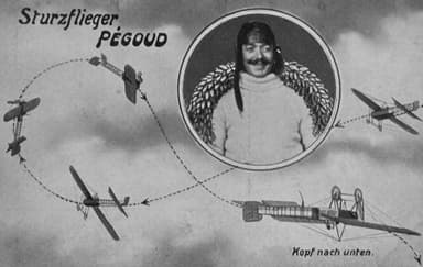German Pre-War Postcard Depicting Pégoud's Loop