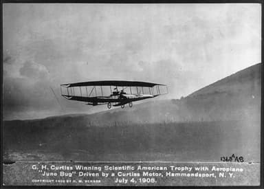 Glenn Curtis Winning Trophy in June Bug (July 4, 1908)