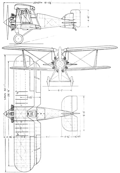 Gloster Gamecock II 3-view drawing from L'Air August 15, 1927