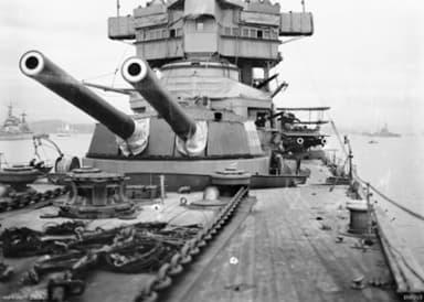 HMAS Australia Main Armament (Note Biplane on Wing Turret)