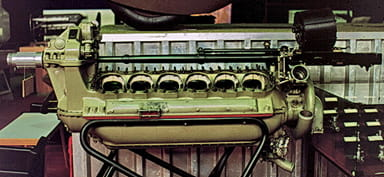 Hispano Suiza V-12 Engine Showing 'Auto Cannon' Between Cylinder Banks