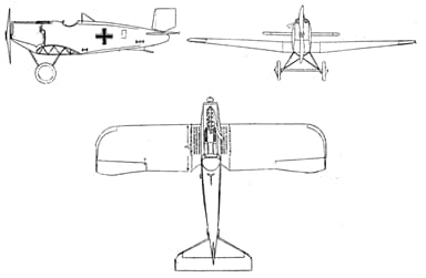 Junkers D.I 3-view drawing from L'Aerophile March,1921