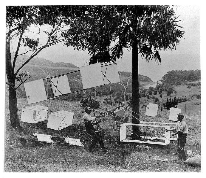 Lawrence Hargrave and Assistant Demonstrate Box Kite