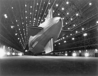 Macon Moored in Hangar One at NAS Moffett Field in 1933