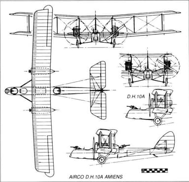 Multi-View Drawing of Airco DH.10 Amiens