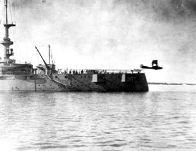 Mustin Makes the First Catapult Launch on 5 November 1915