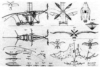 Patent Drawings of Clément Ader's Éole
