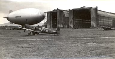 Spitfire LF VIII of 451 Squadron, Blimp K-112 of Airship Patrol Squadron (1944)