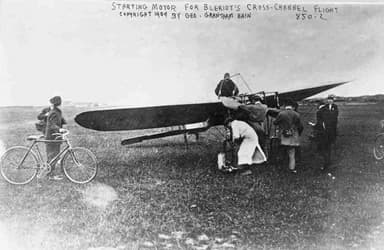 Starting the Engine On That Historic Date, July 25, 1909